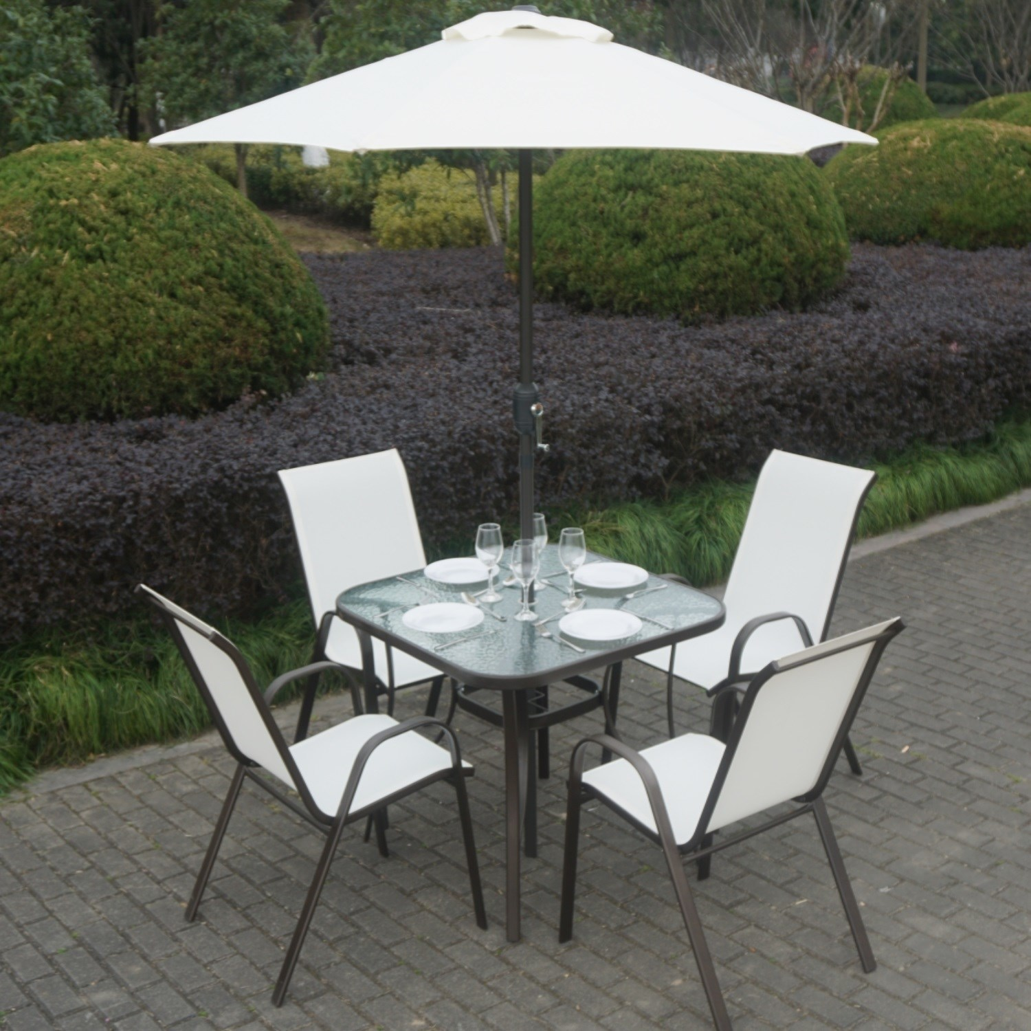 brown metal and cream 4 seater garden dining set parasol included