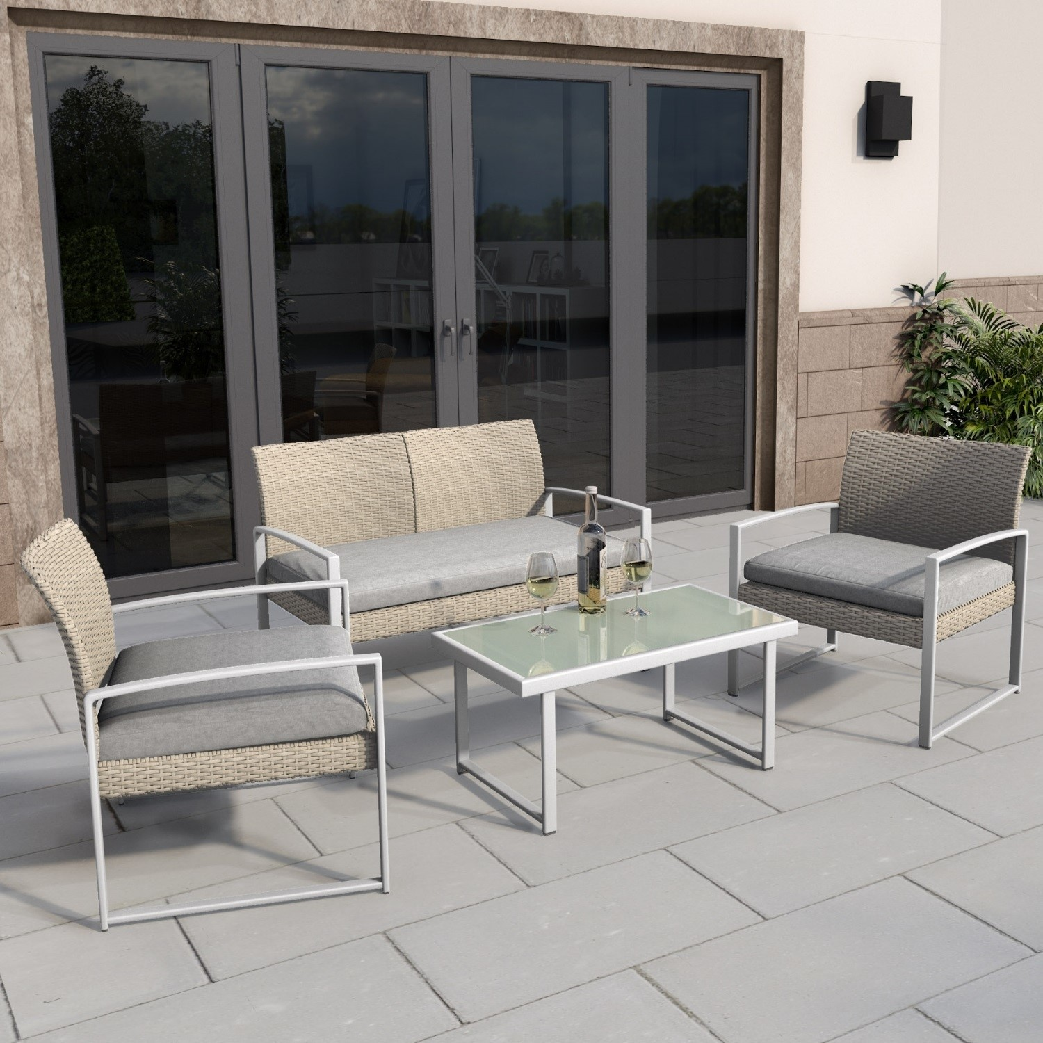 4 piece rattan patio outdoor furniture set with grey cushions table