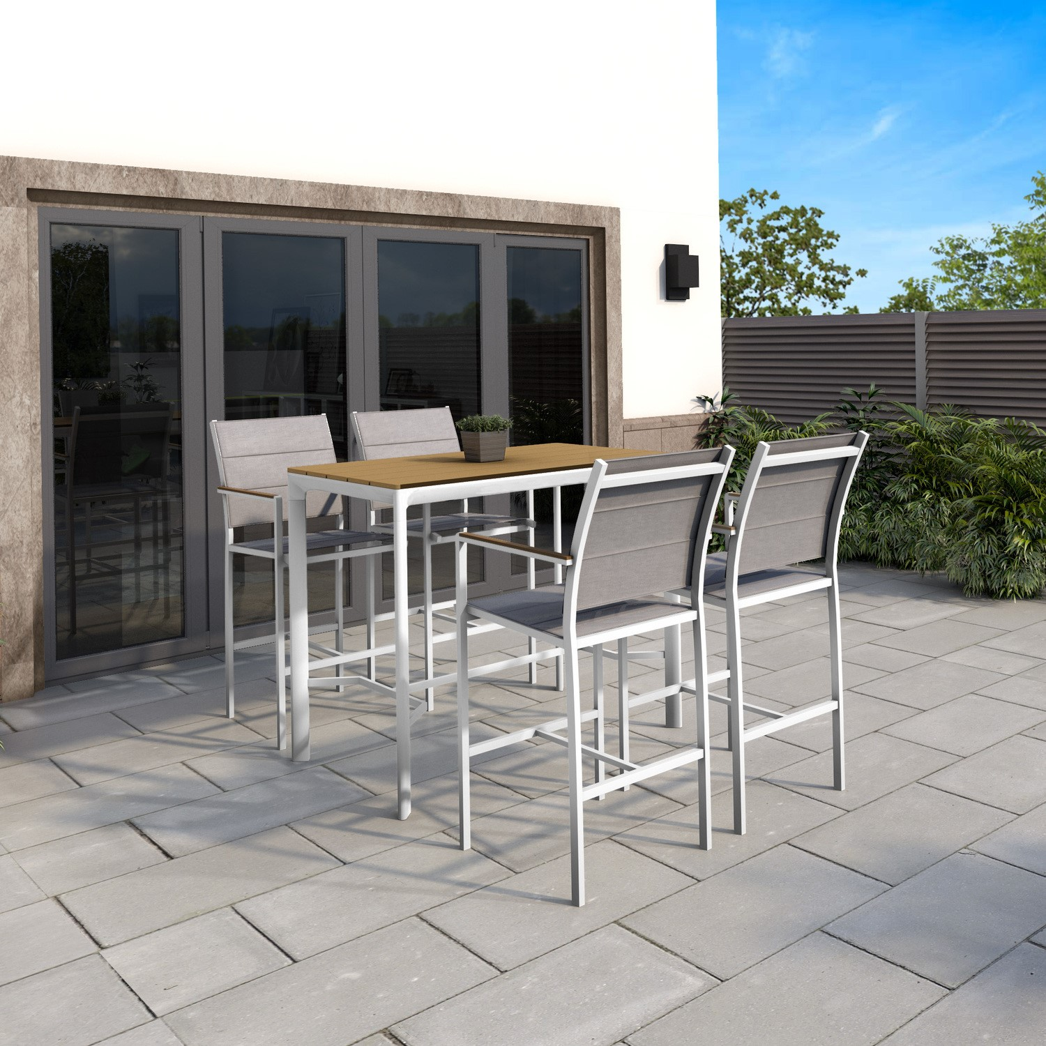 white outdoor bar set with 4 bar stools