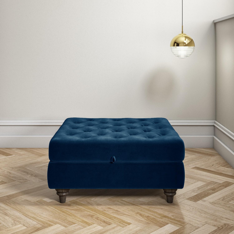 navy blue ottoman storage footstool buttoned inez