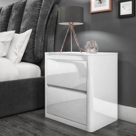 single chair sofa beds leather in kerala lexi white high gloss 2 drawer bedside table | furniture123