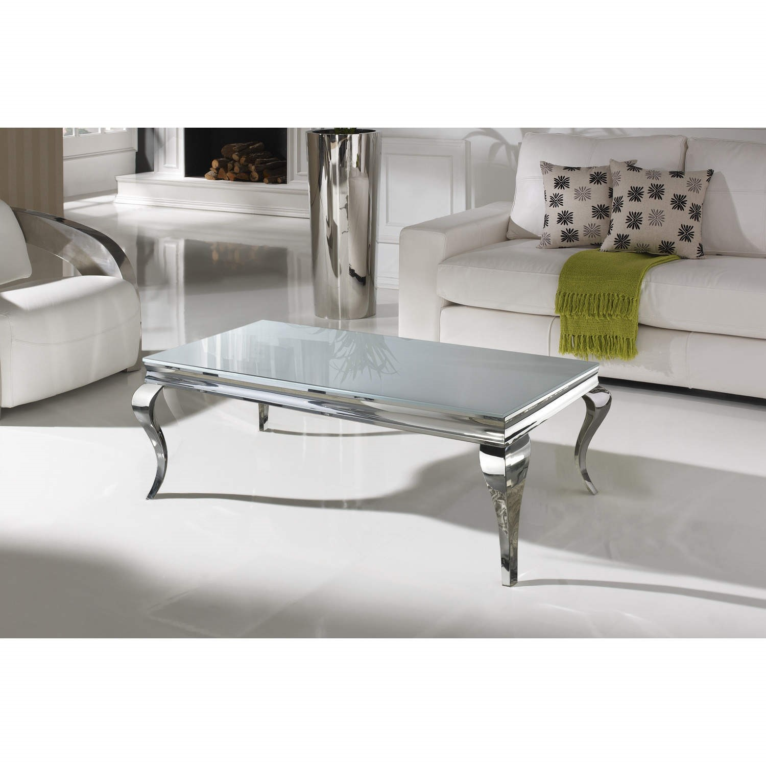 louis large mirrored coffee table in white vida living