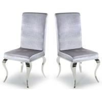 Louis Mirrored Dining Chairs - Silver/Velvet - Pair of ...