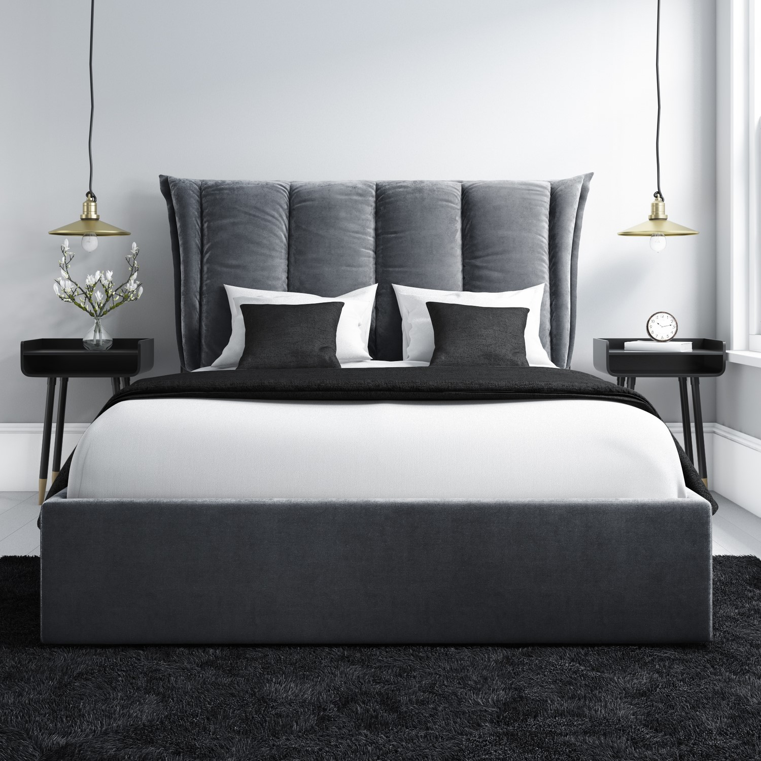 Maddox King Size Ottoman Bed With Cushioned Headboard In Silver Grey Velvet