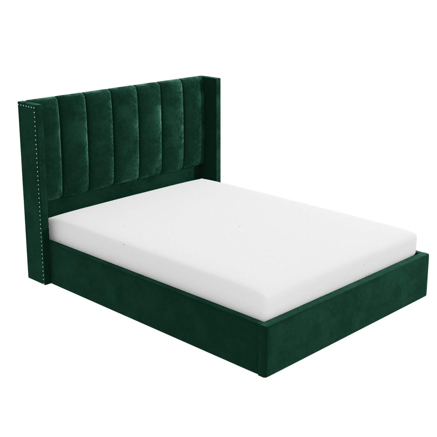 maddox wing back small double ottoman bed in green velvet