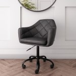 Dark Grey Faux Leather Office Chair With Swivel Base Marley Furniture123