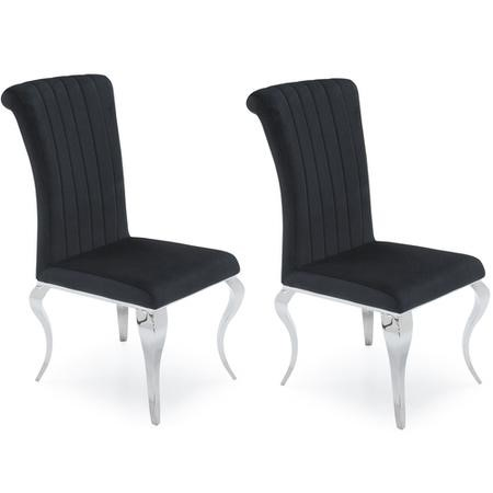 Orion Pair Of Black Velvet Dining Chairs With Mirrored Leg