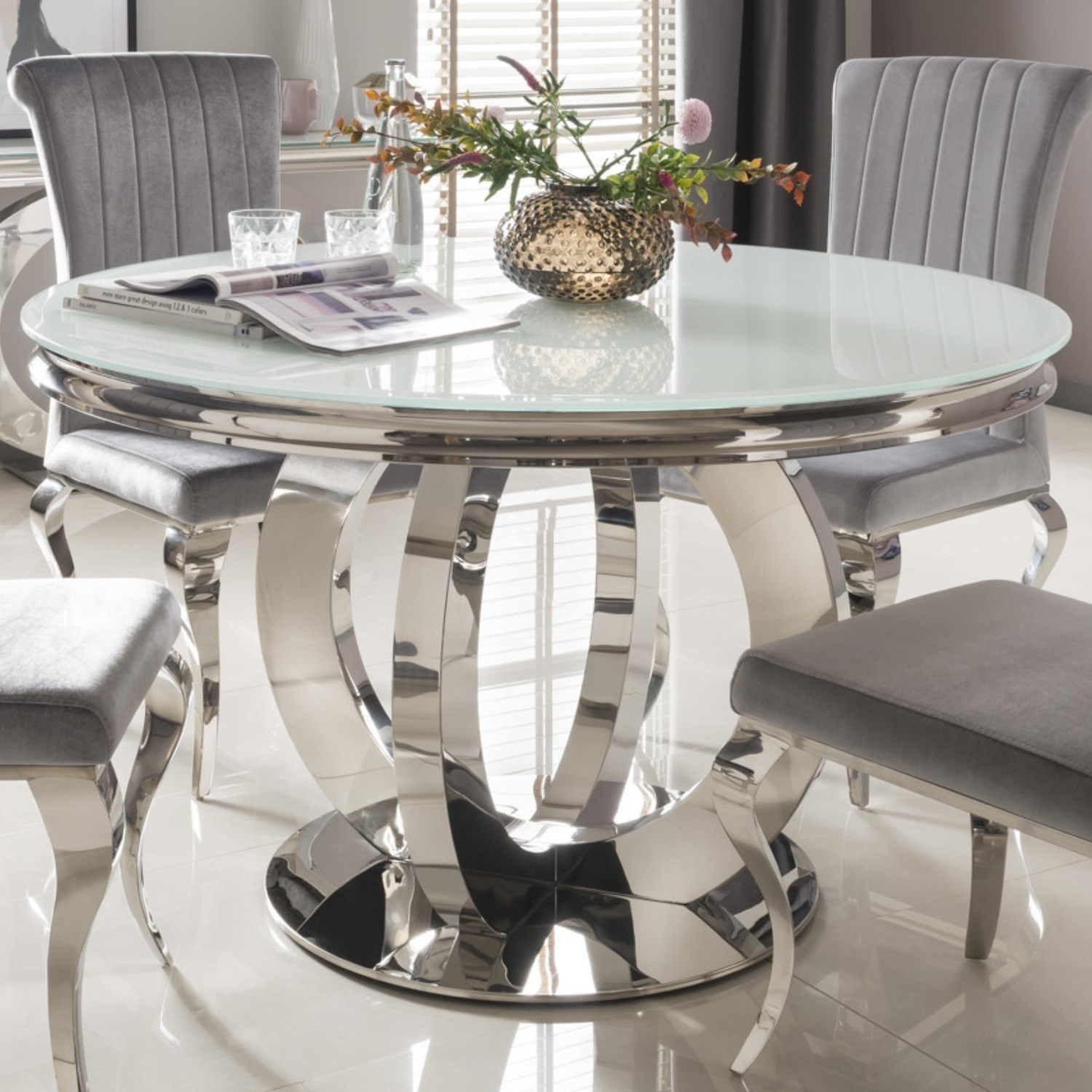 Orion Mirrored Round Dining Table with White Glass Top