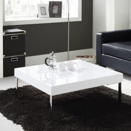 High Gloss Square White Coffee Table  Tiffany Range