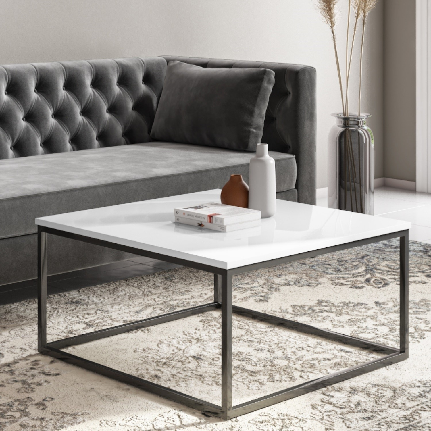 square white gloss coffee table with black metal legs rochelle