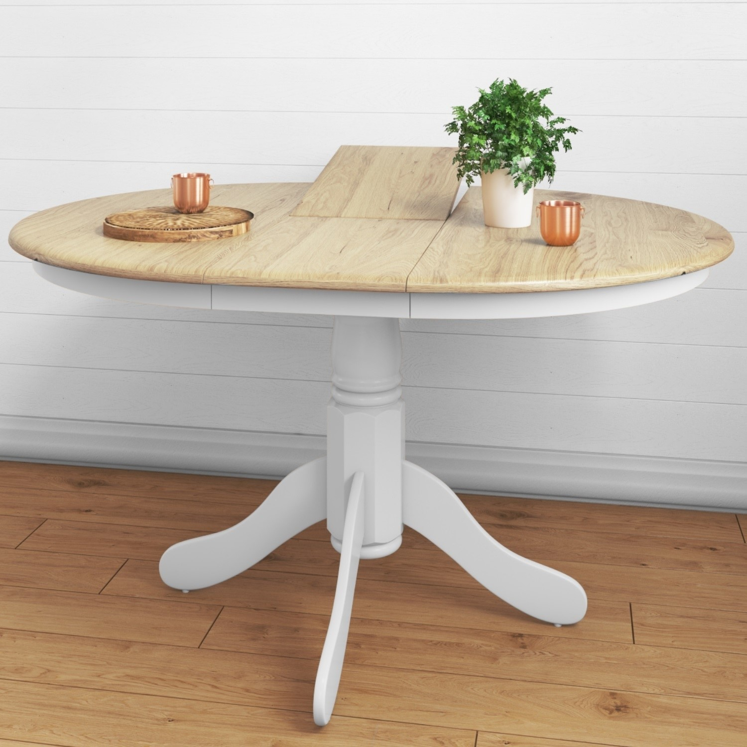 Round Extendable Dining Table In White Oak Effect Seats 6 Rhode Island Furniture123