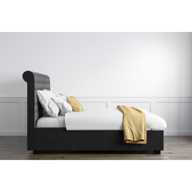 safina rolltop king size ottoman bed in dark grey velvet