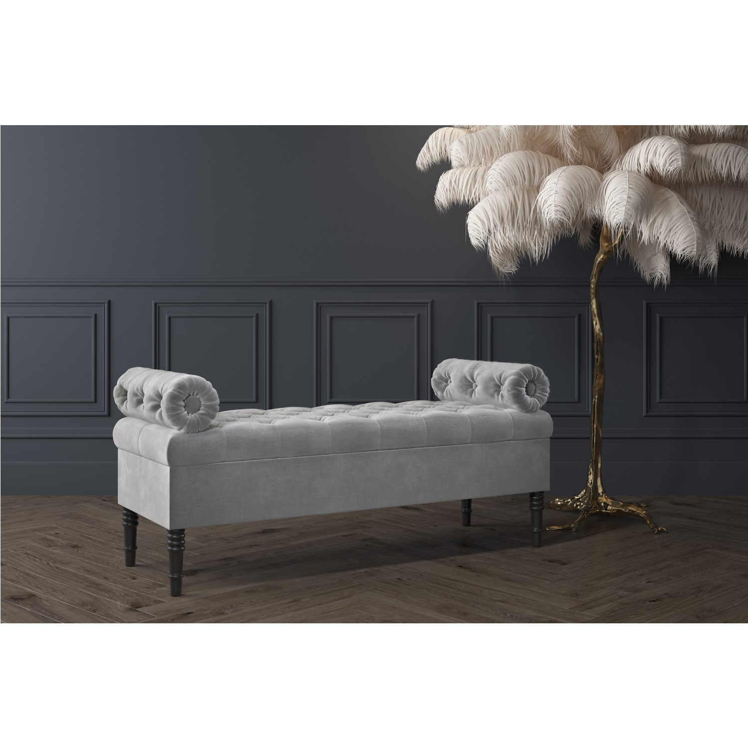 Safina Ottoman Storage Bench In Grey Velvet With Bolster Cushions Furniture123