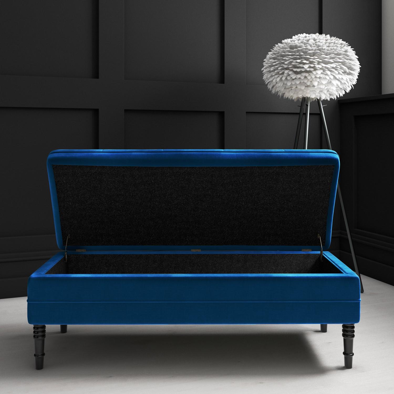 safina ottoman storage bench in navy blue velvet with button detail