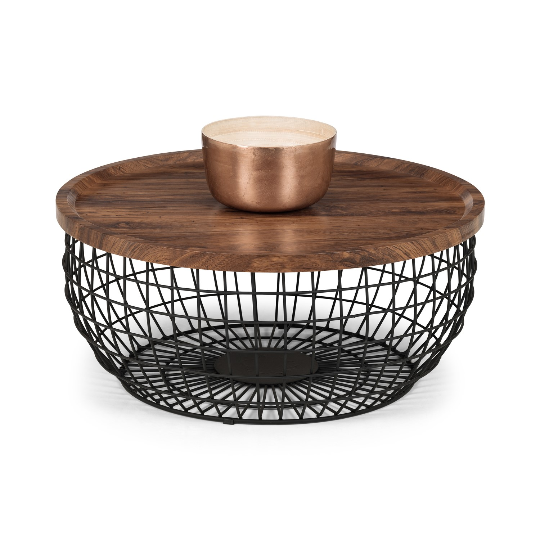 smithson basket coffee table with wooden top black metal frame julian bowen