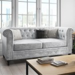 Orleans Silver Crushed Velvet Sofa 2 Seater Chesterfield Furniture123