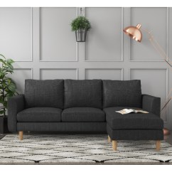 Large Dark Grey Corner Sofa Fur Kleine Raume Brooke 3 Seater Right Left Hand Chaise Sof020