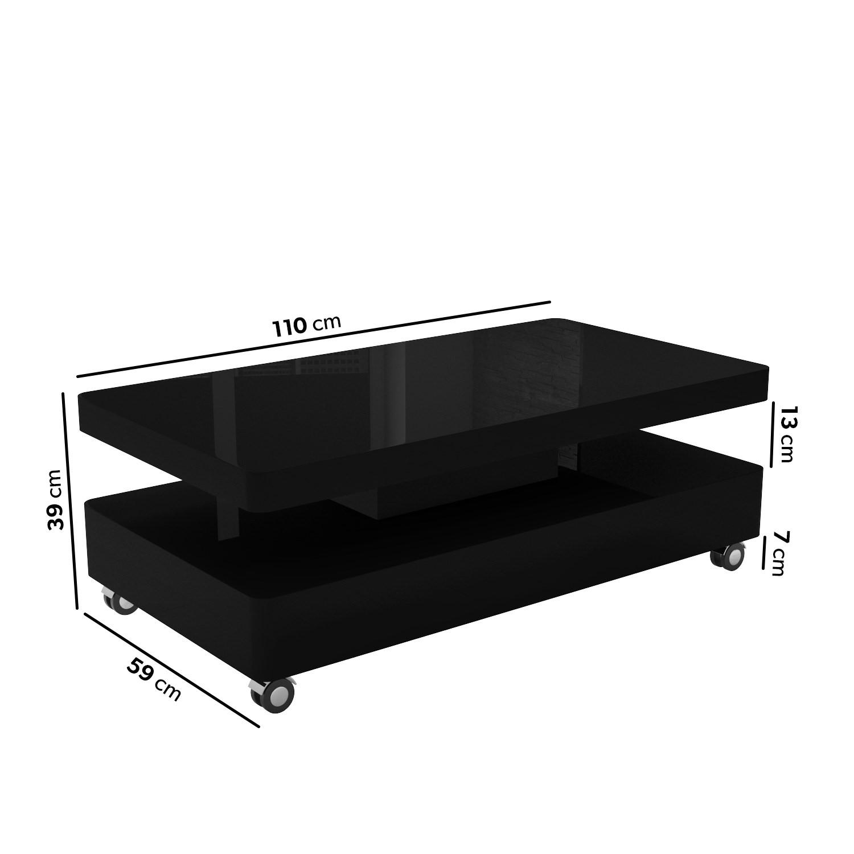 rectangular coffee table in black gloss tiffany