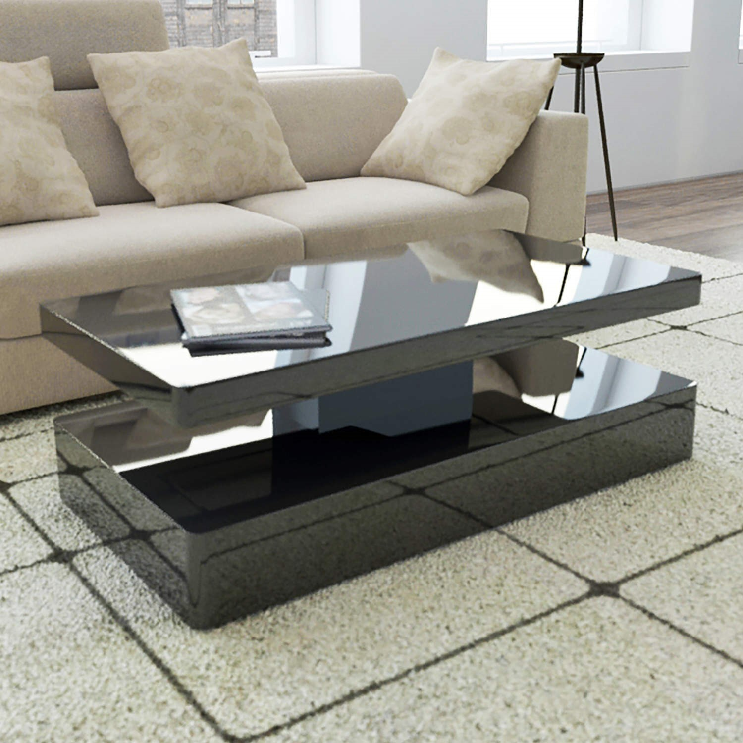 tiffany black high gloss rectangular coffee table with led lighting