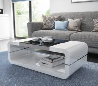 High Gloss White Curved Coffee Table with Black Glass Top ...