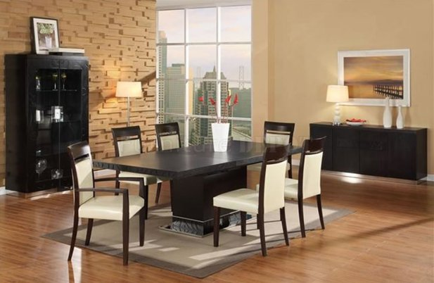 dazzling-dining-room-furniture-and-wall-decorative-with-wood-laminate-floor