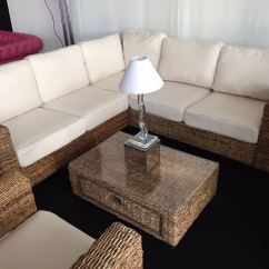 Rattan Sofa And Coffee Table Bergamo Sectional Leather Modern White Indoor Natural Corner - Furniture4events