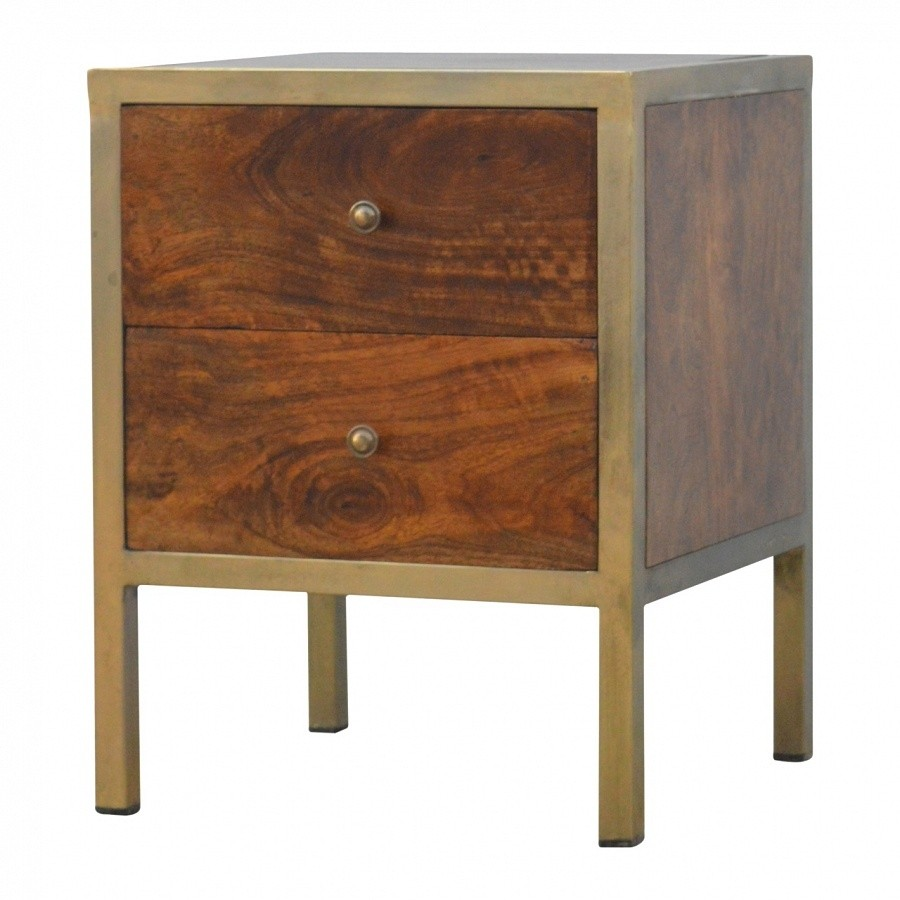 solid mango wood iron 2 drawer bedside table