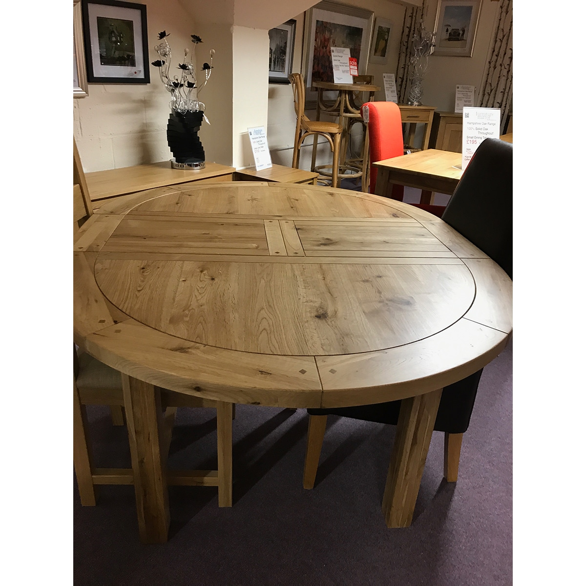 Fresno Small Round Extending Dining Table Furniture And Mirror