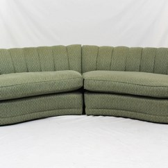 Crescent Sofa Leather Mah Jong Replica India Hollywood Regency Shaped With Knoll Fabric