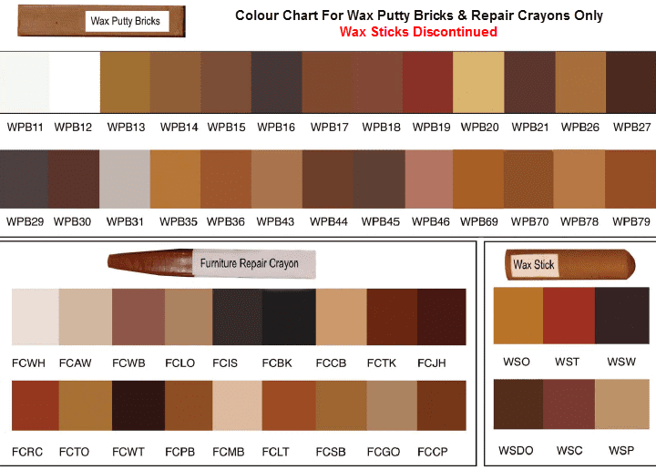 leather office chairs australia rooster chair cushions colour chart for wax putty bricks-wax filler sticks-furniture repair crayons | furniture care ...