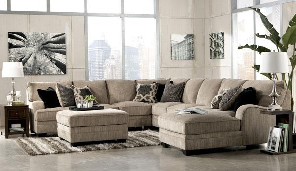 ashley furniture 14 piece living room sale fireplace wall katisha platinum sectional review at furniturecart set