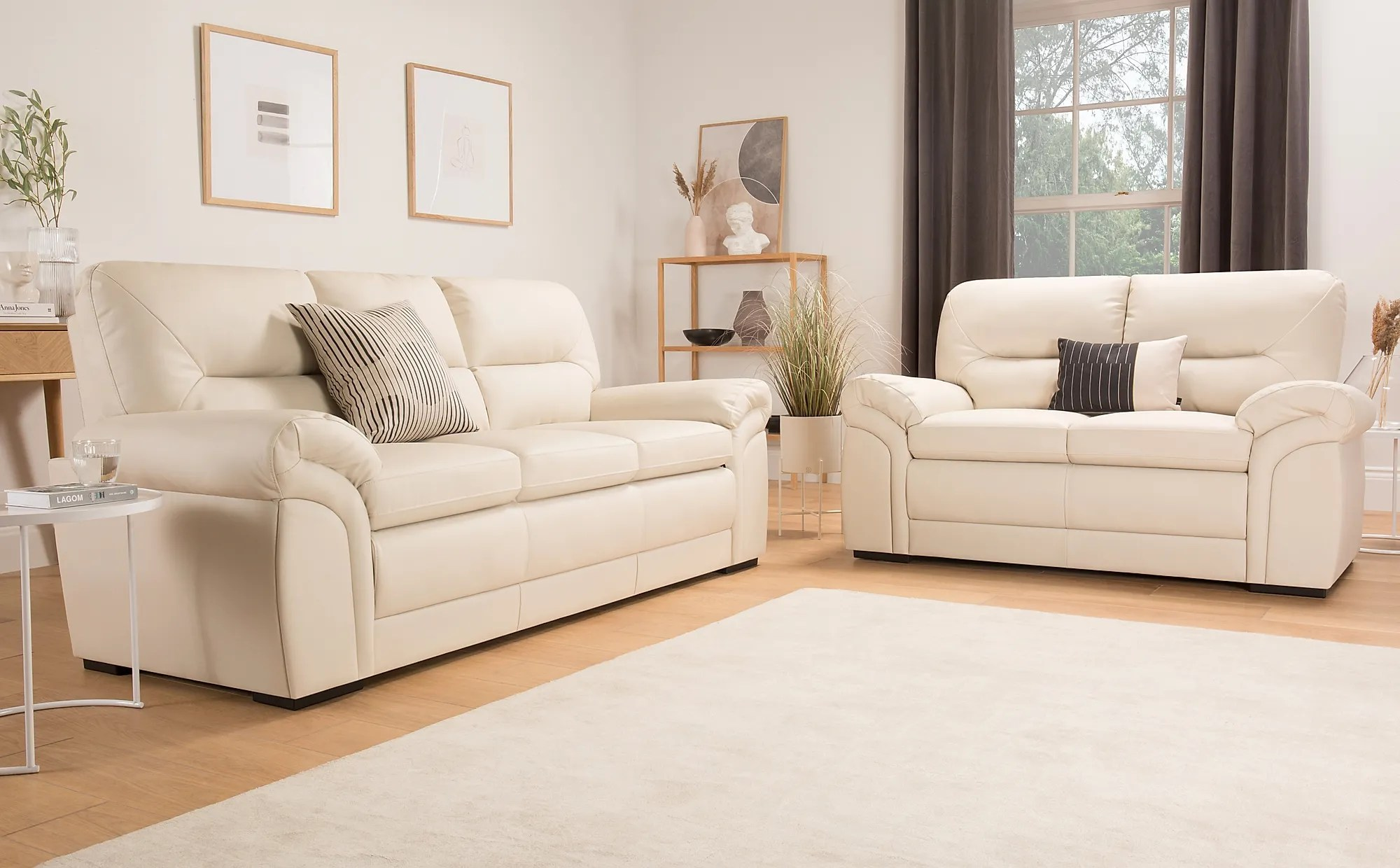 Bromley Ivory Leather Sofa 3+2 Seater Only £799.98