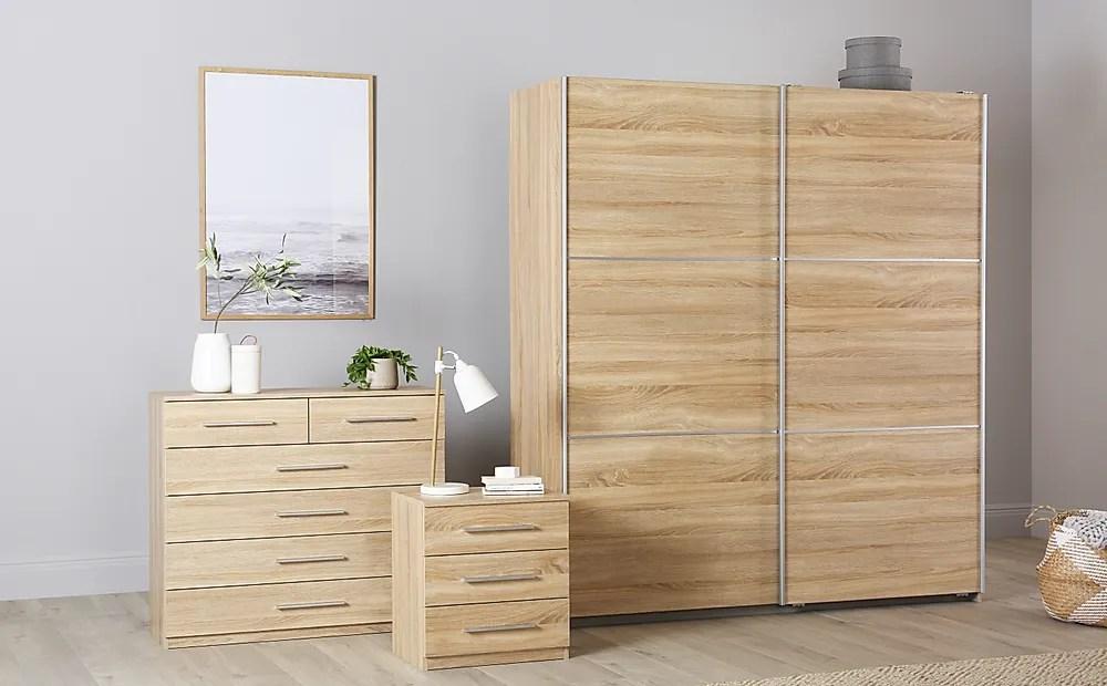 Rauch Palmela Oak 3 Piece 2 Door Sliding Wardrobe Bedroom
