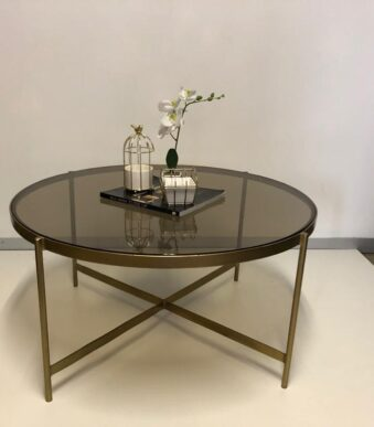 COFFEE TABLE GOLD POWDER COATED 800mm DIAM WITH SMOKED GLASS R2695 EX VAT