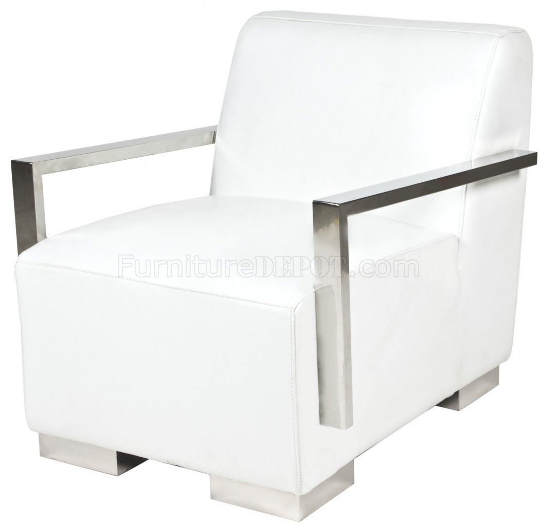 White Lounge Chairs White Bi Cast Leather Modern Lounge Chair W Metal Arms And Legs