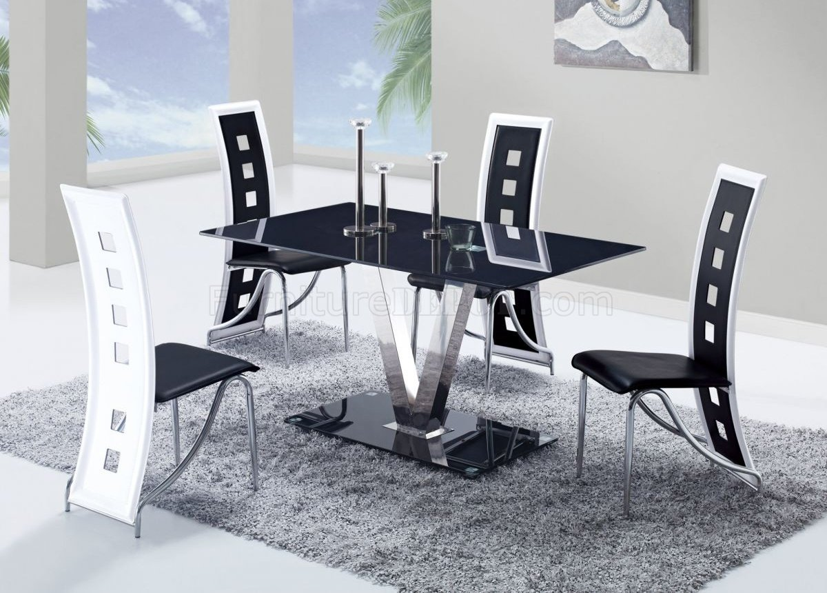 Dining Chairs Set D551dt Dining Set 5pc W 803dc Black And White Chairs By Global
