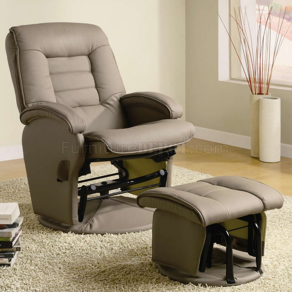 Swivel Rocker Recliner Chair Beige Vinyl Modern Swivel Glider Recliner Chair W Ottoman