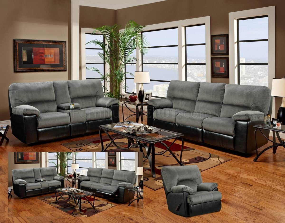 Grey Fabric And Black Vinyl Modern Loveseat & Sofa Set W