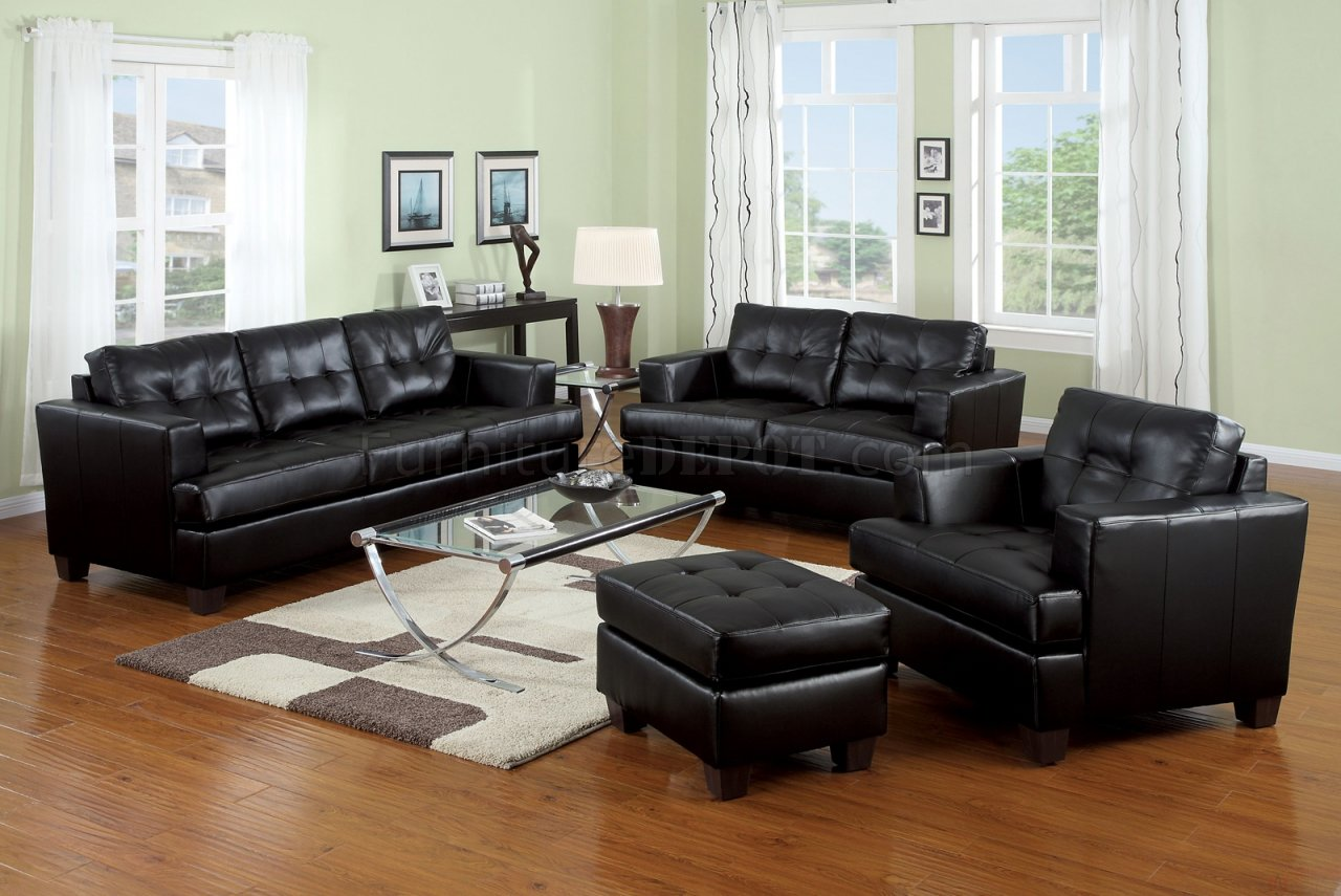 Black Living Room Chair Bonded Leather Living Room 15090 Black