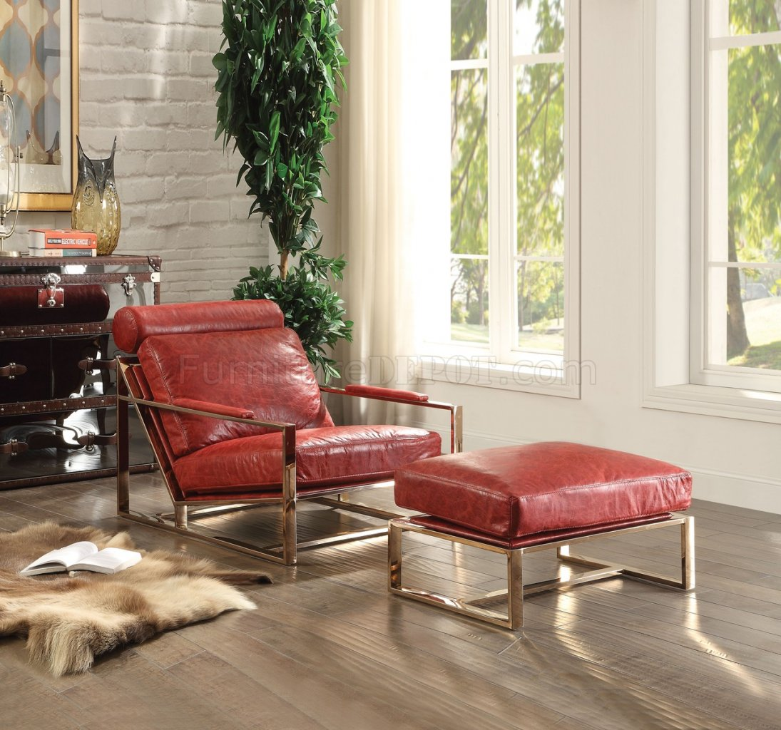 Antique Accent Chairs Quinto Accent Chair 96672 In Antique Red Leather By Acme