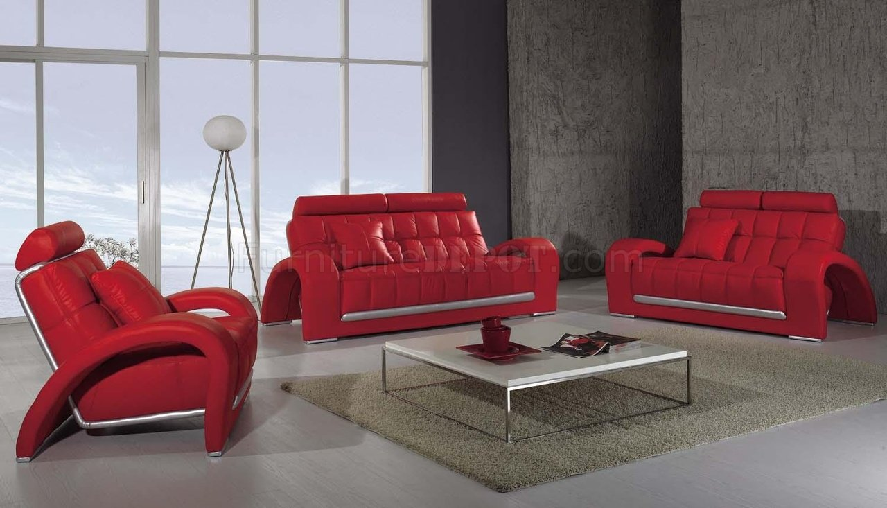 Red Living Room Chair Modern Leather 3 Piece Living Room Set T50 Red