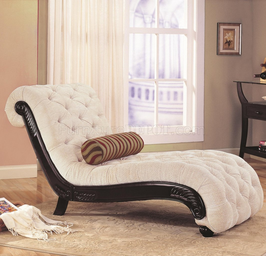 Lounge Chairs For Bedroom Beige Fabric Traditional Chaise Lounge W Carved Wood Trim