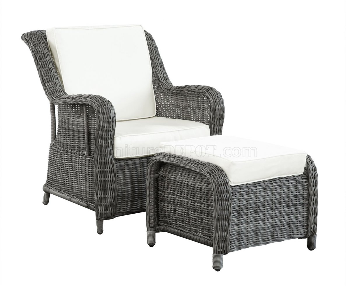 Patio Chairs With Ottoman Du Jour Outdoor Patio Chair And Ottoman In Gray White By Modway