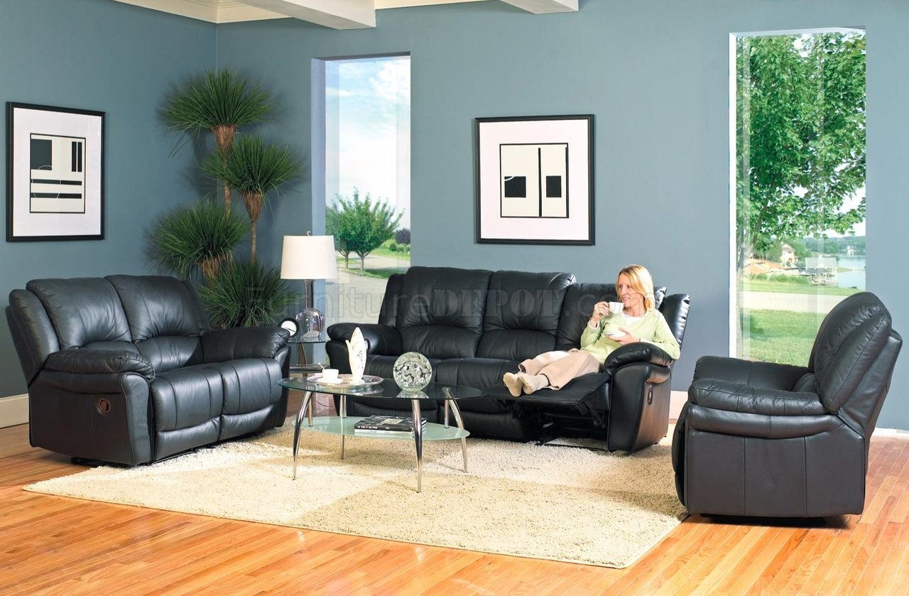 Black Living Room Chair Black Bonded Leather Modern Reclining Living Room Sofa W