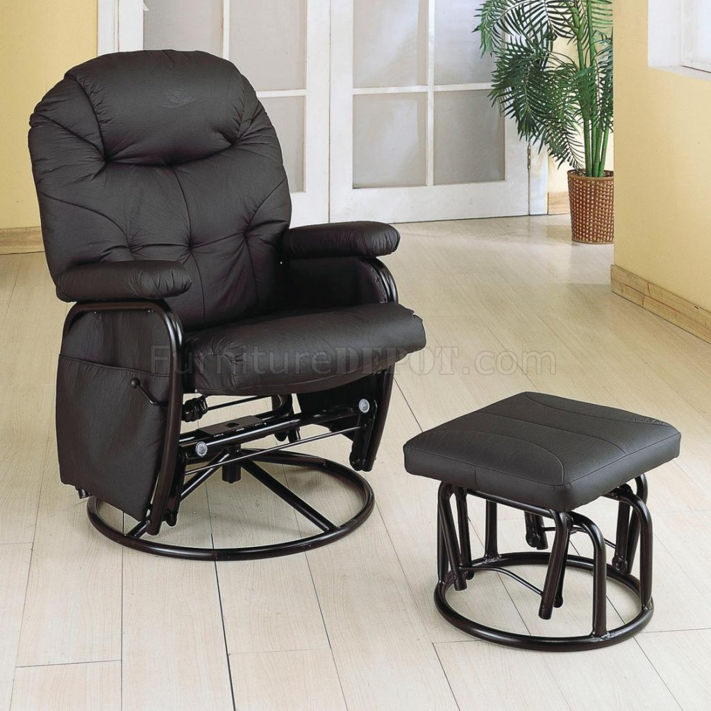 Modern Recliner Chairs Black Letherette Modern Swivel Glider Recliner Chair W Ottoman