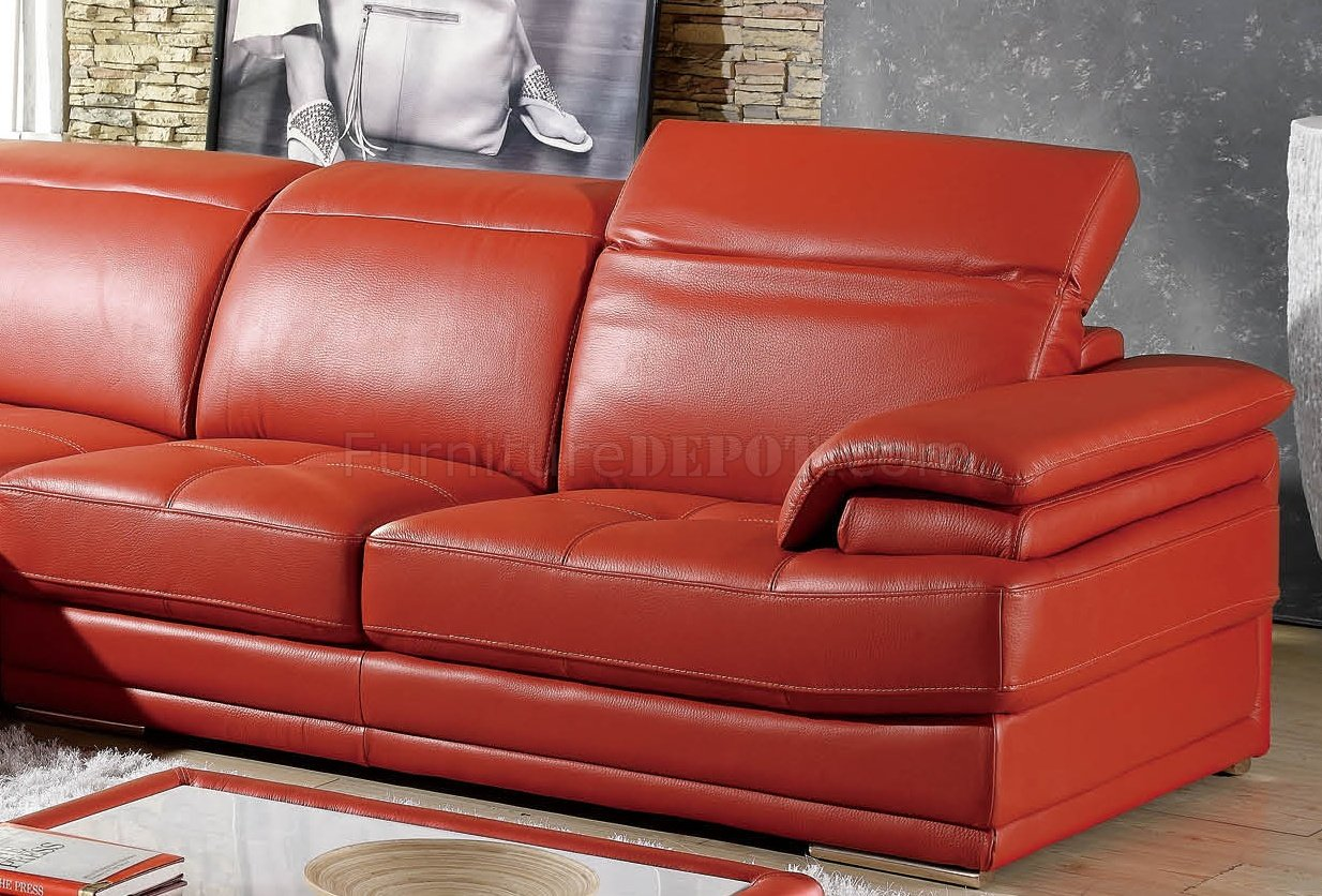 Orange Leather Chair Modern Full Leather Sectional Sofa 605 Orange