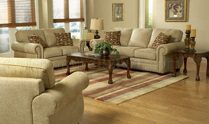 Beige Cream Chenille Classic Living Room Sofa W/Rolled Arms