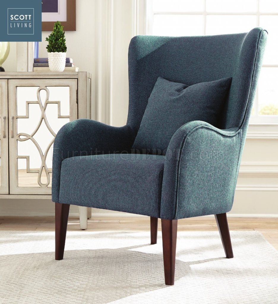 Coaster Accent Chair 903370 Scott Living Coaster Dark Teal Accent Chair