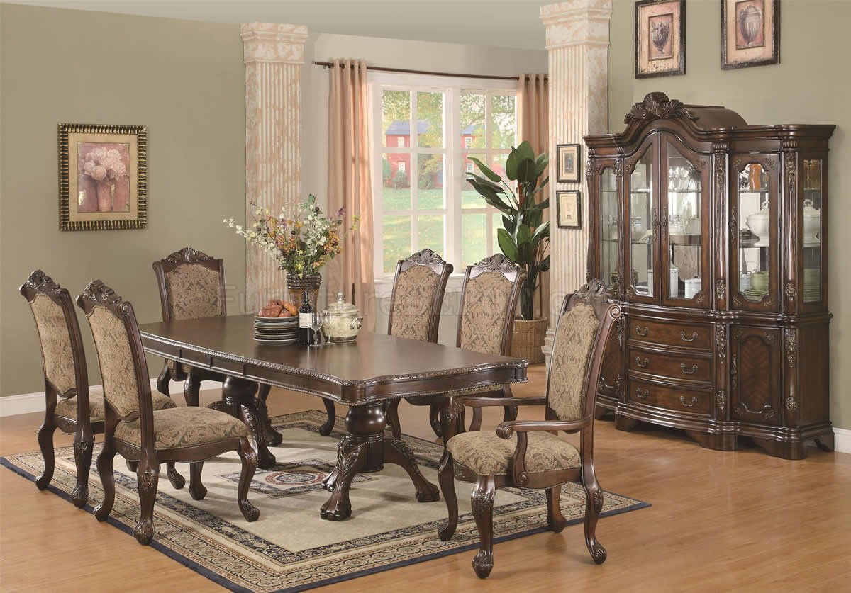 Traditional Dining Room Chairs Brown Cherry Finish Traditional Dining Table W Extension Leaf