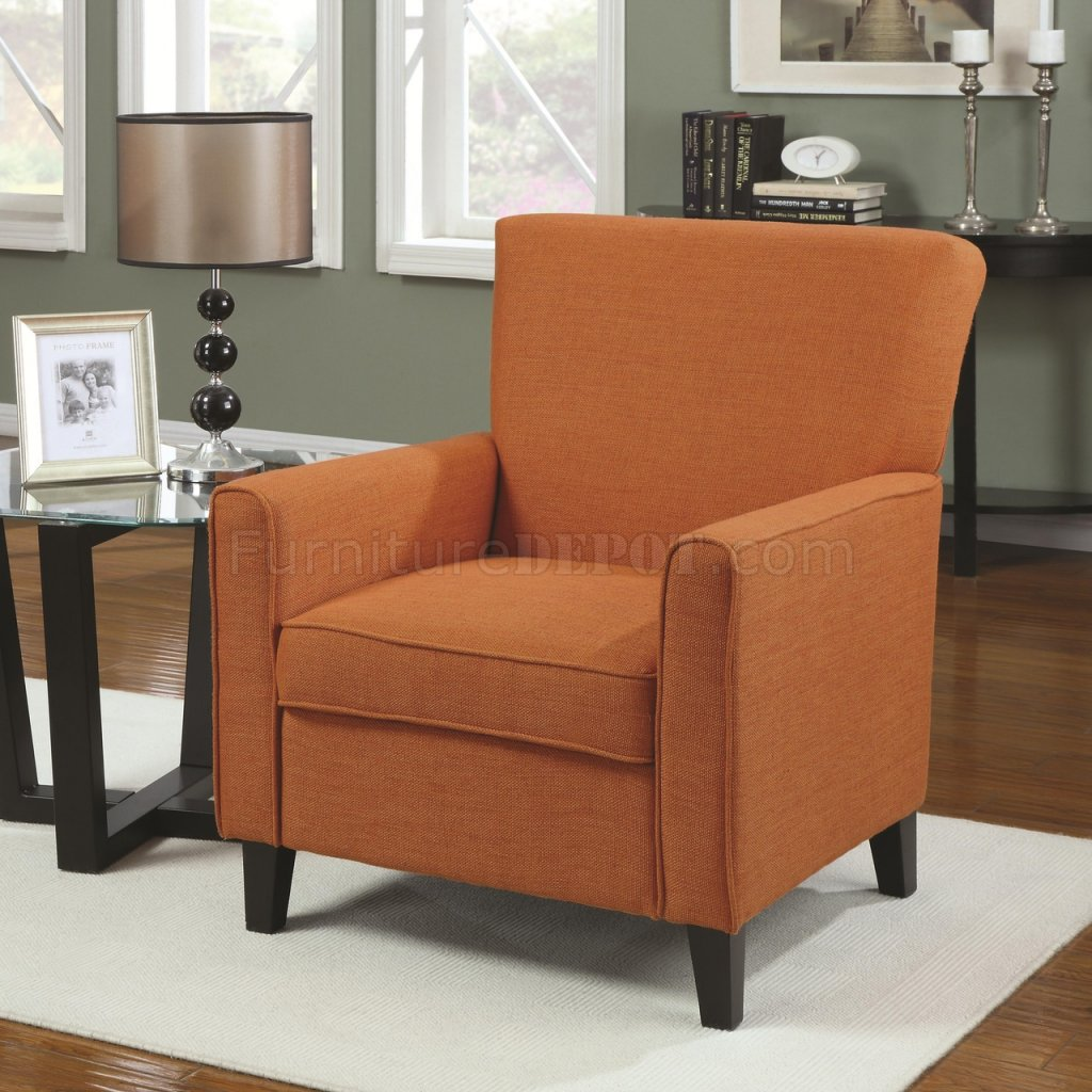 Set Of Accent Chairs 902094 Accent Chair Set Of 2 In Orange Fabric By Coaster